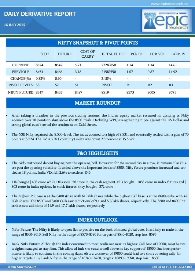 DAILY DERIVATIVE REPORT 16 JULY 2015 YOUR MINTVISORY Call us at +91-731-6642300  After taking a breather in the previous ...
