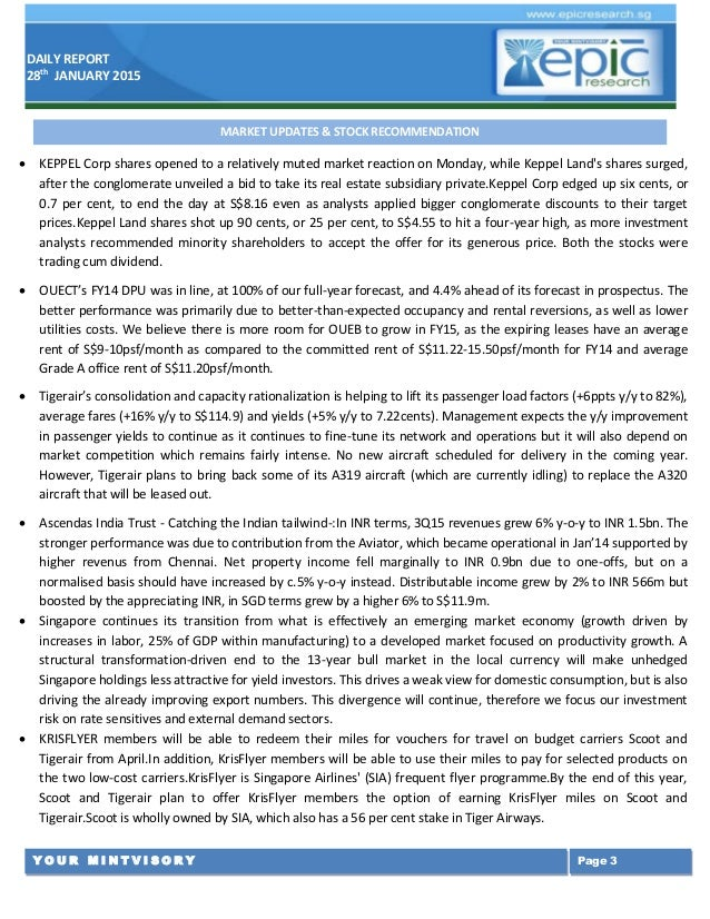 EPIC RESEARCH SINGAPORE - Daily SGX Singapore report of 28 January 2015 Slide 3