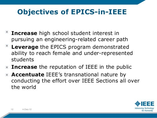 Objectives of EPICS-in-IEEEIncrease high school student interest inpursuing an engineering-related career pathLeverage the...