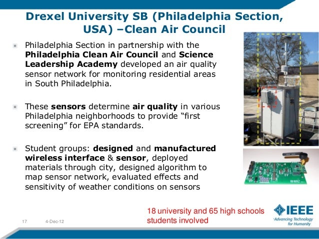 Drexel University SB (Philadelphia Section,          USA) –Clean Air Council Philadelphia Section in partnership with the ...