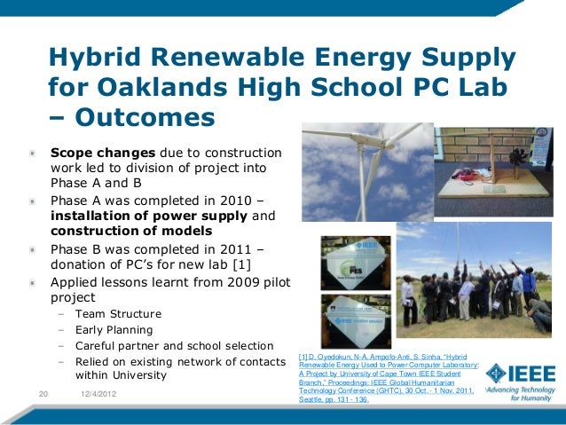 Hybrid Renewable Energy Supply     for Oaklands High School PC Lab     – Outcomes     Scope changes due to construction   ...