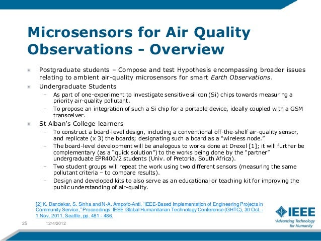 Microsensors for Air Quality     Observations - Overview       Postgraduate students – Compose and test Hypothesis encompa...