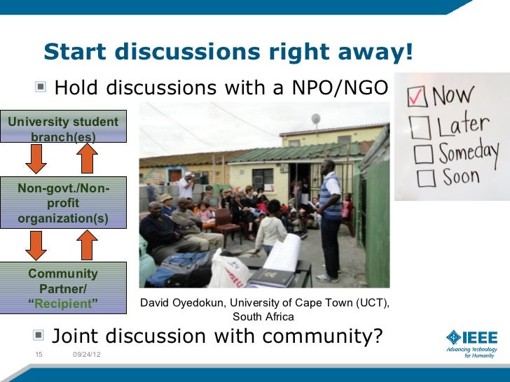 Start discussions right away!         Hold discussions with a NPO/NGOUniversity student   branch(es) Non-govt./Non-     pr...