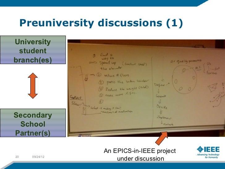 Preuniversity discussions (1)University studentbranch(es)Secondary SchoolPartner(s)                   An EPICS-in-IEEE pro...