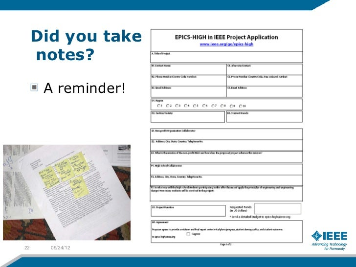 Did you take     notes?      A reminder!22     09/24/12