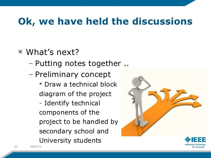 Ok, we have held the discussions      What's next?      – Putting notes together ..      – Preliminary concept            ...