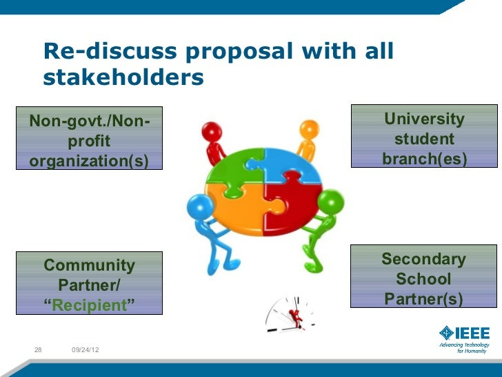Re-discuss proposal with all     stakeholdersNon-govt./Non-                 University    profit                      stud...