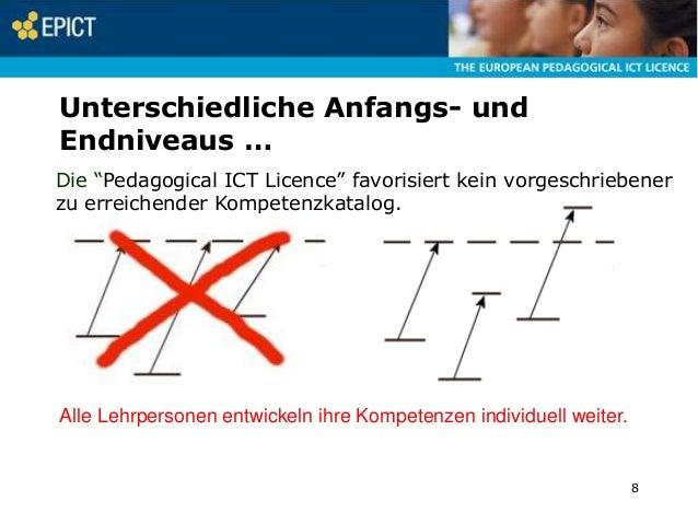 """Unterschiedliche Anfangs- und Endniveaus … Die """"Pedagogical ICT Licence"""" favorisiert kein vorgeschriebener zu erreichender..."""