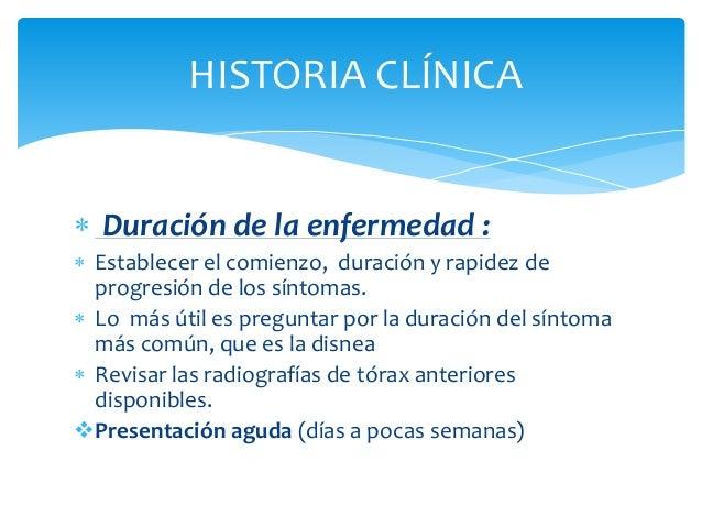  Anamnesis:   Síntoma de presentación:   más común es la disnea lentamente progresiva, con o  sin tos, que habitualment...