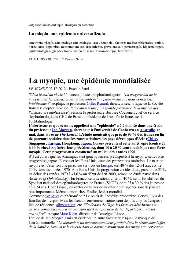 vulgarisation scientifique, divulgacion cientificaLa miopía, una epidemia universalizada.ametropía miopía, oftalmólogo oft...