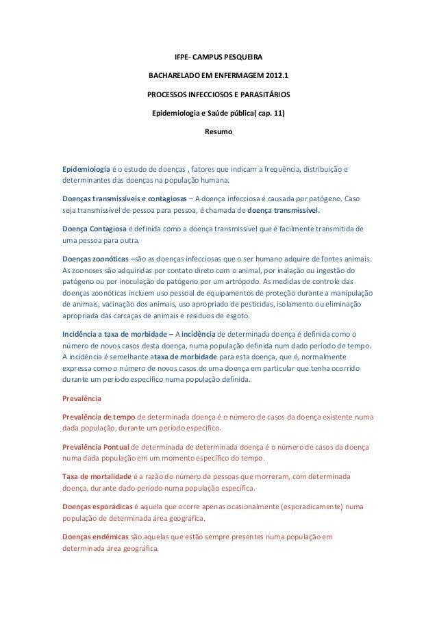 IFPE- CAMPUS PESQUEIRA                          BACHARELADO EM ENFERMAGEM 2012.1                         PROCESSOS INFECCI...