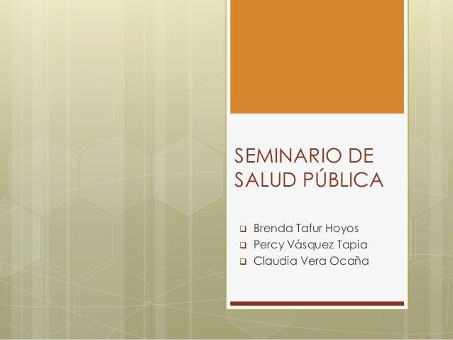 SEMINARIO DESALUD PÚBLICA   Brenda Tafur Hoyos   Percy Vásquez Tapia   Claudia Vera Ocaña