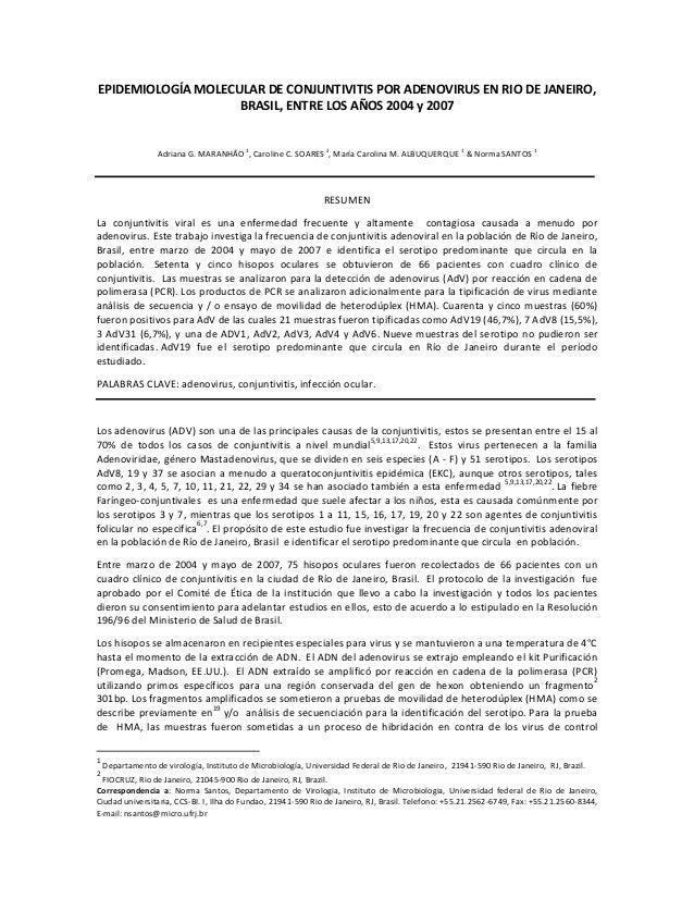 EPIDEMIOLOGÍA MOLECULAR DE CONJUNTIVITIS POR ADENOVIRUS EN RIO DE JANEIRO, BRASIL, ENTRE LOS AÑOS 2004 y 2007  Adriana G. ...