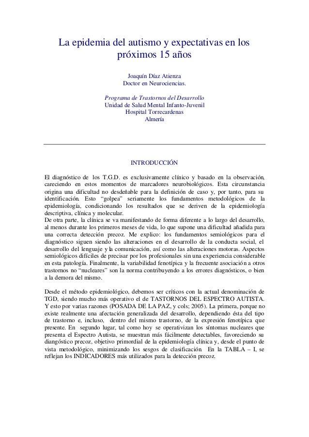 La epidemia del autismo y expectativas en los                  próximos 15 años                                 Joaquín Dí...
