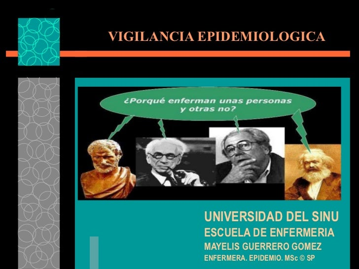 VIGILANCIA EPIDEMIOLOGICA UNIVERSIDAD DEL SINU ESCUELA DE ENFERMERIA MAYELIS GUERRERO GOMEZ ENFERMERA. EPIDEMIO. MSc © SP