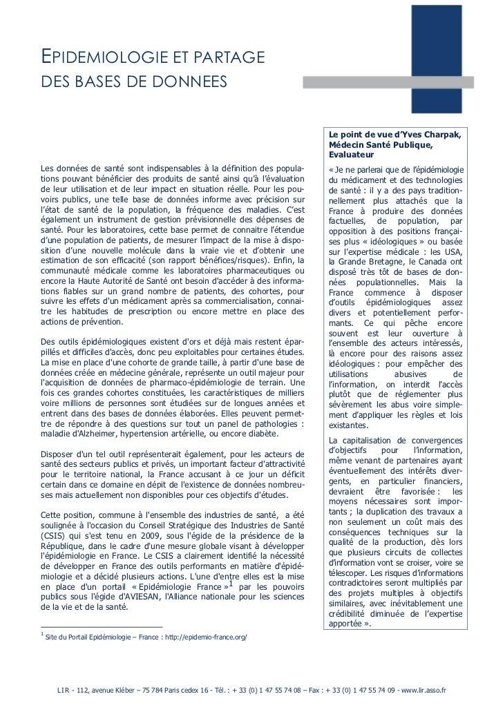 EPIDEMIOLOGIE ET PARTAGEDES BASES DE DONNEES                                                                              ...