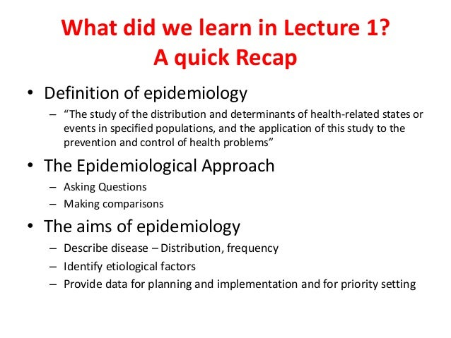 Epidemiology Lecture 2 Measuring Disease Frequency