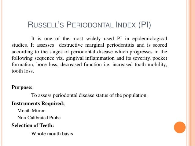 Epidemiology of gingival & periodontal diseases