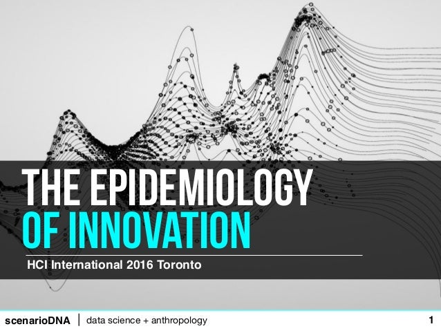 scenarioDNA data science + anthropology 1 HCI International 2016 Toronto The epidemiology of innovation