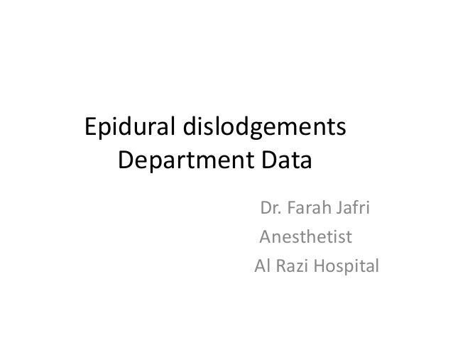 Epidural dislodgements Department Data Dr. Farah Jafri Anesthetist Al Razi Hospital
