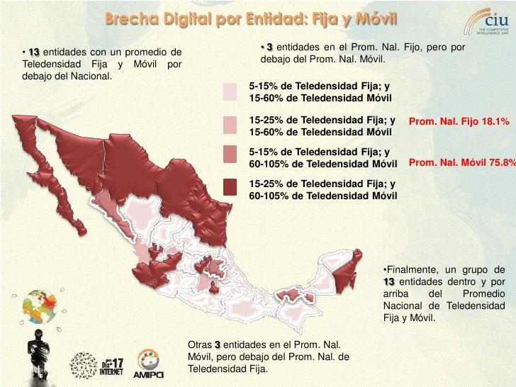 Brecha Digital por Entidad: Fija y Móvil                                                     • 3 entidades en el Prom. Nal...