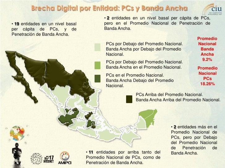 Brecha Digital por Entidad: PCs y Banda Ancha                                            • 2 entidades en un nivel basal p...