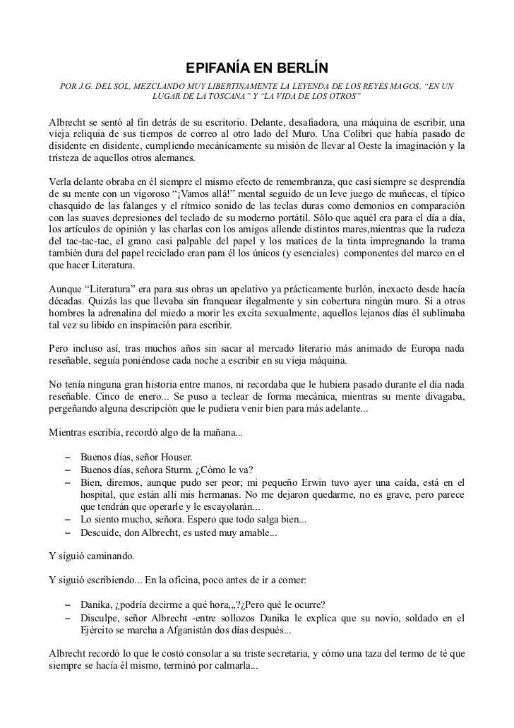 """EPIFANÍA EN BERLÍN  POR J.G. DEL SOL, MEZCLANDO MUY LIBERTINAMENTE LA LEYENDA DE LOS REYES MAGOS, """"EN UN                  ..."""
