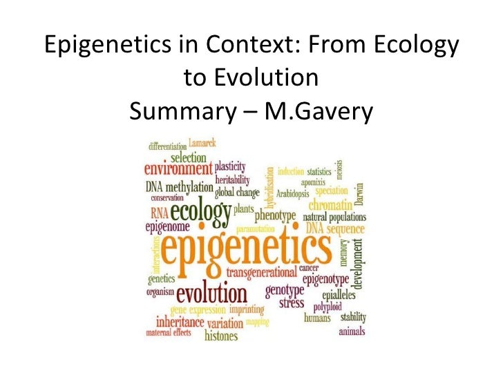 Epigenetics in Context: From Ecology to EvolutionSummary – M.Gavery<br />
