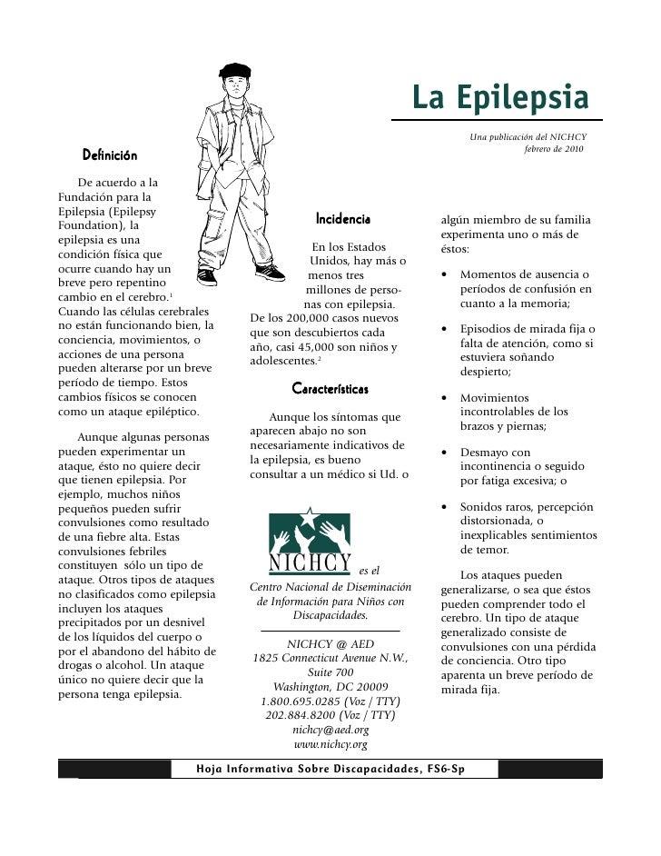 La Epilepsia                                                                           Una publicación del NICHCY         ...