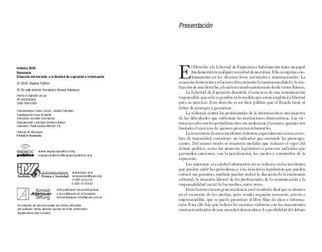Índice Informe sobre la situación del derecho a la libertad de expresión e información en Venezuela .........................