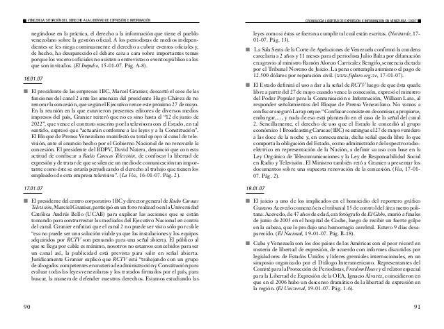 2007 - Situación del Derecho a la Libertad de Expresión e Información en Venezuela