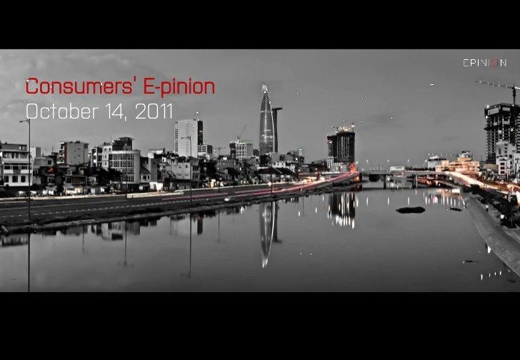 Consumers' E-pinionOctober 14, 2011