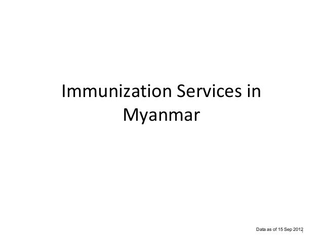 Immunization Services in Myanmar  Data as of 15 Sep 2012 1