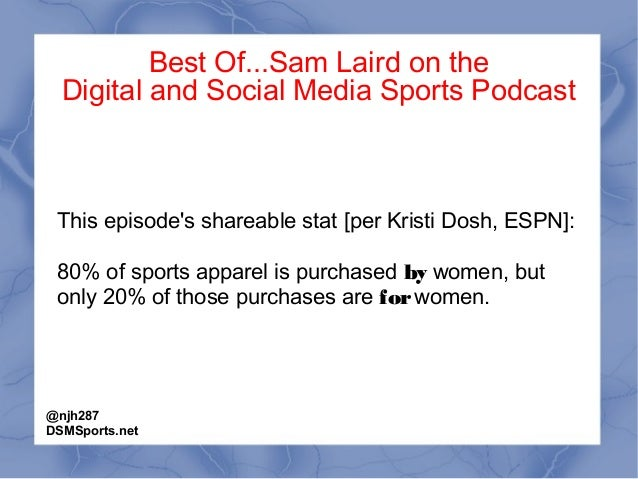 Best Of...Sam Laird on the Digital and Social Media Sports Podcast This episode's shareable stat [per Kristi Dosh, ESPN]: ...