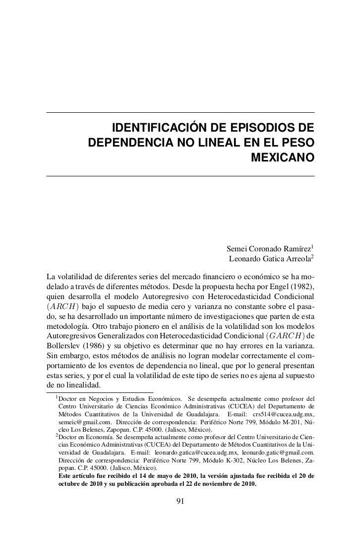 IDENTIFICACIÓN DE EPISODIOS DE             DEPENDENCIA NO LINEAL EN EL PESO                                     MEXICANO  ...