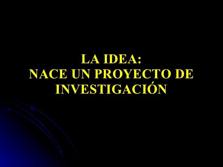 LA IDEA: NACE UN PROYECTO DE INVESTIGACIÓN
