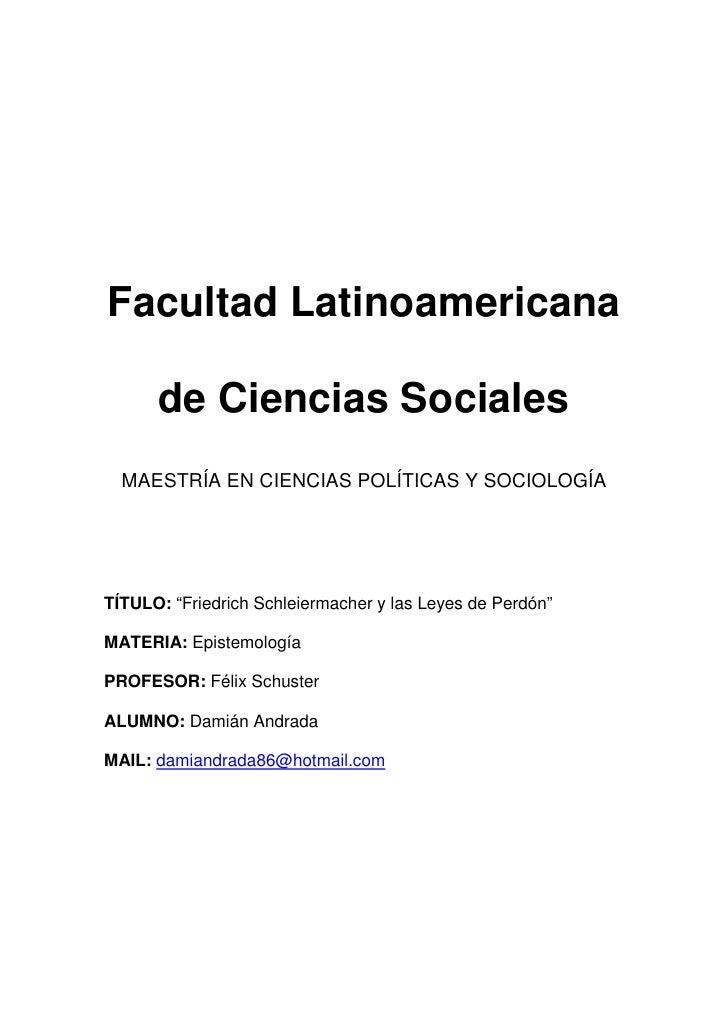 """Facultad Latinoamericana        de Ciencias Sociales   MAESTRÍA EN CIENCIAS POLÍTICAS Y SOCIOLOGÍA     TÍTULO: """"Friedrich ..."""