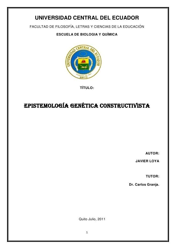 UNIVERSIDAD CENTRAL DEL ECUADOR FACULTAD DE FILOSOFÍA, LETRAS Y CIENCIAS DE LA EDUCACIÓN              ESCUELA DE BIOLOGIA ...