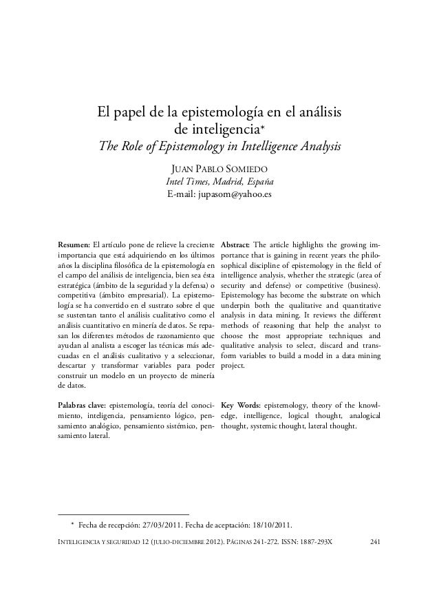 El papel de la epistemología en el análisis de inteligencia* The Role of Epistemology in Intelligence Analysis JUAN PABLO ...