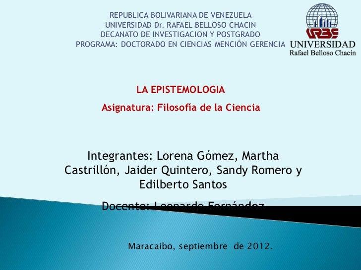 REPUBLICA BOLIVARIANA DE VENEZUELA       UNIVERSIDAD Dr. RAFAEL BELLOSO CHACIN      DECANATO DE INVESTIGACION Y POSTGRADO ...