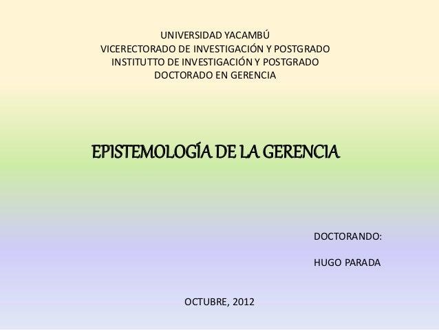 UNIVERSIDAD YACAMBÚVICERECTORADO DE INVESTIGACIÓN Y POSTGRADO  INSTITUTTO DE INVESTIGACIÓN Y POSTGRADO          DOCTORADO ...