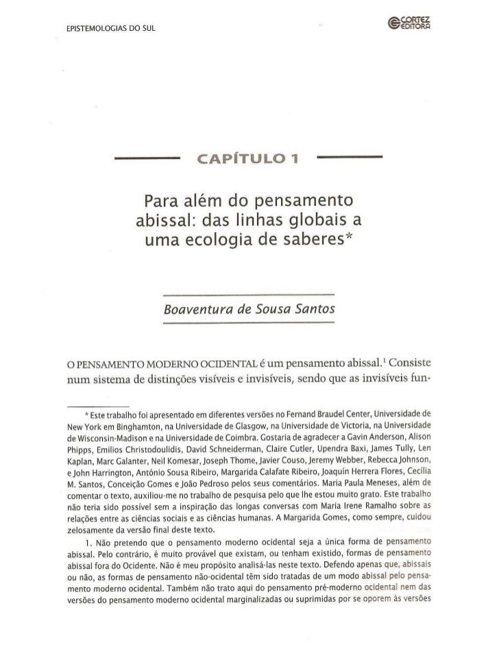 Epistemologias do sul - cap 1