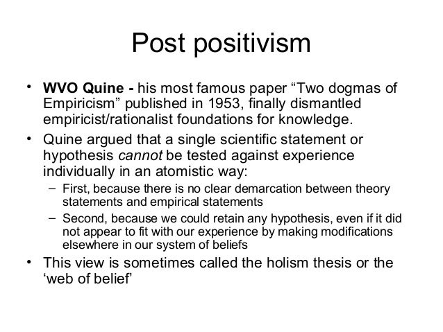 """an analysis of quines two dogmas of empiricism In the first four sections of his 1951 paper """"two dogmas of empiricism"""", quine presented another argument against the attempt to use analyticity to explain necessity and the a priori."""