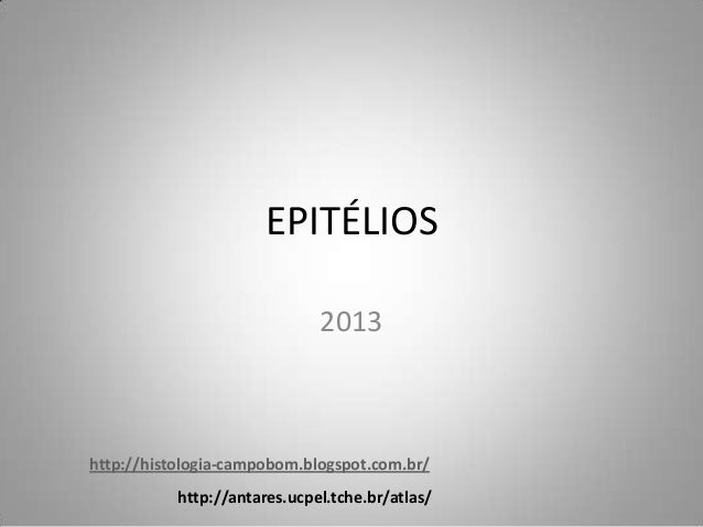 EPITÉLIOS                              2013http://histologia-campobom.blogspot.com.br/           http://antares.ucpel.tche...