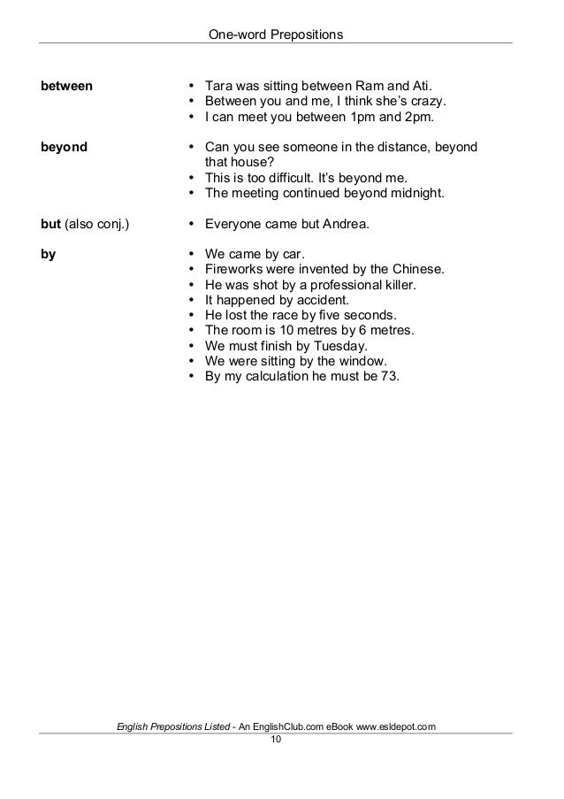 English prepositions listed 10 fandeluxe Document
