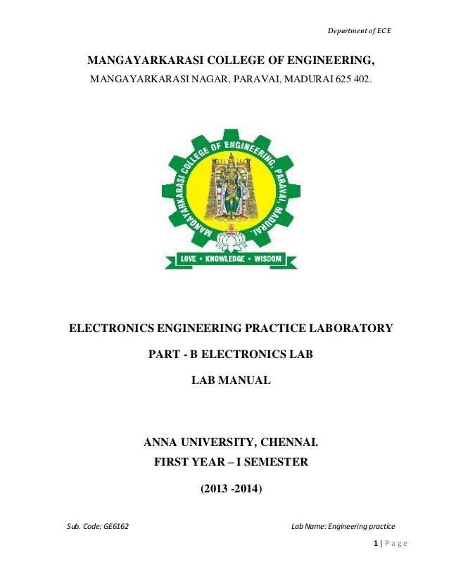 engineering practice lab manual for electronics rh slideshare net anna university engineering chemistry lab manual anna university civil engineering lab manual