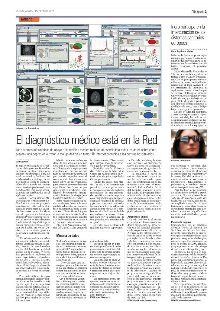 Artículo en CiberPAIS - 1 Abril 2010 - Diag. médico Red