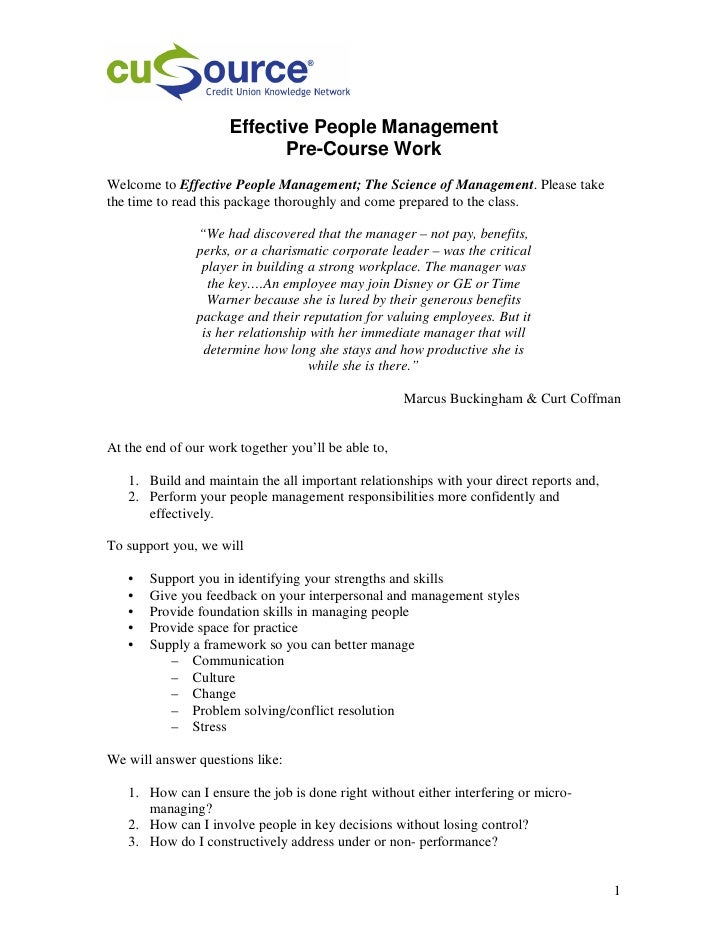 Effective People Management                             Pre-Course Work Welcome to Effective People Management; The Scienc...