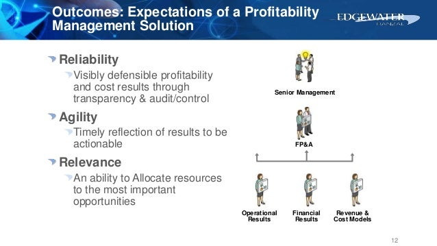 Outcomes: Expectations of a Profitability Management Solution Reliability Visibly defensible profitability and cost result...