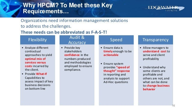 Why HPCM? To Meet these Key Requirements… Flexibility • Analyze different contractual approaches to yield optimal mix of s...